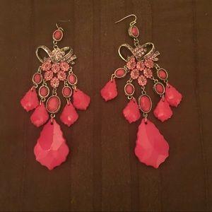 Bebe Hot Pink/Magenta and Gold Chandelier Earrings